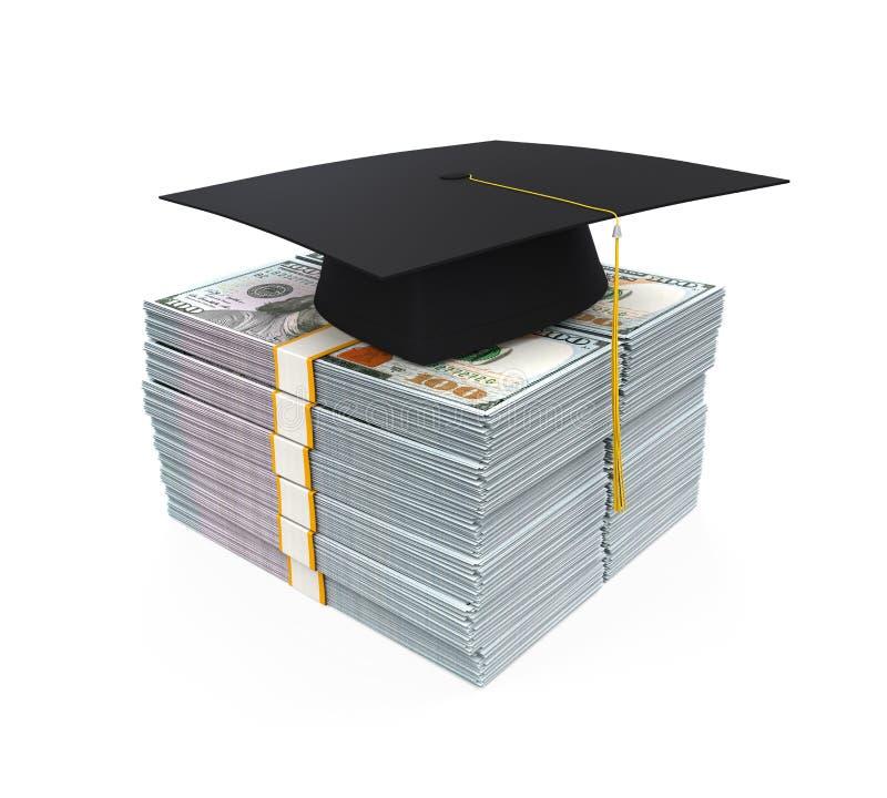 Casquillo de la graduación en la pila de billetes de dólar stock de ilustración