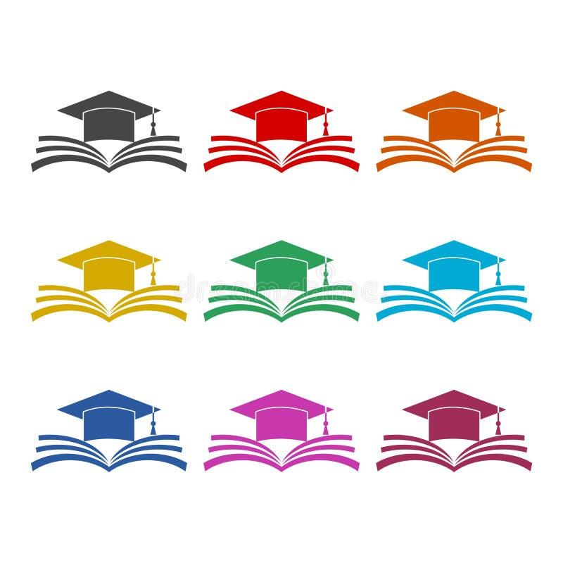 Casquillo de la graduación sobre el icono abierto del libro, icono de la educación, iconos del color fijados ilustración del vector