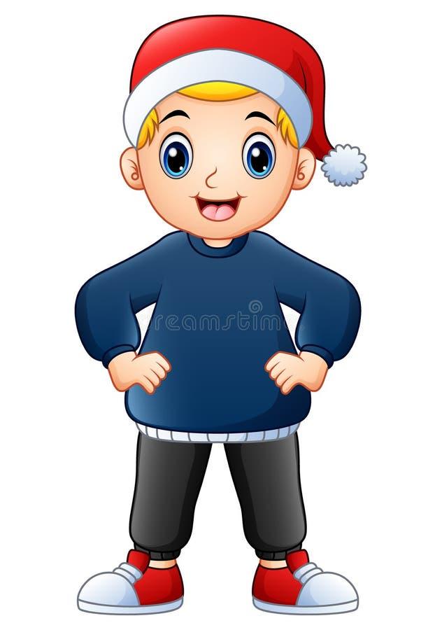 Casquillo de la Navidad de la historieta feliz del muchacho que lleva stock de ilustración