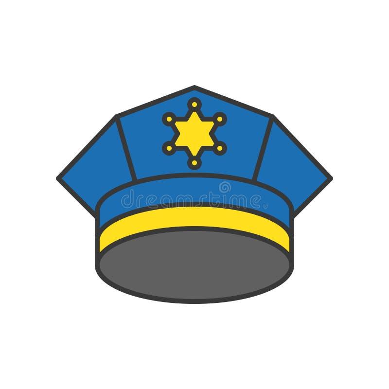 Casquillo de la policía, movimiento editable del icono relacionado de la policía ilustración del vector