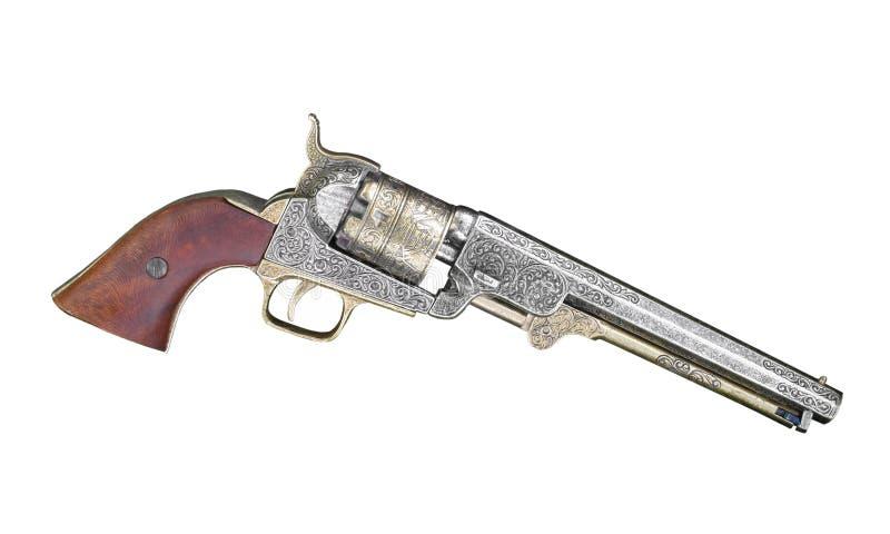 Casquillo de la vendimia y revólver de la bola aislado. fotografía de archivo libre de regalías