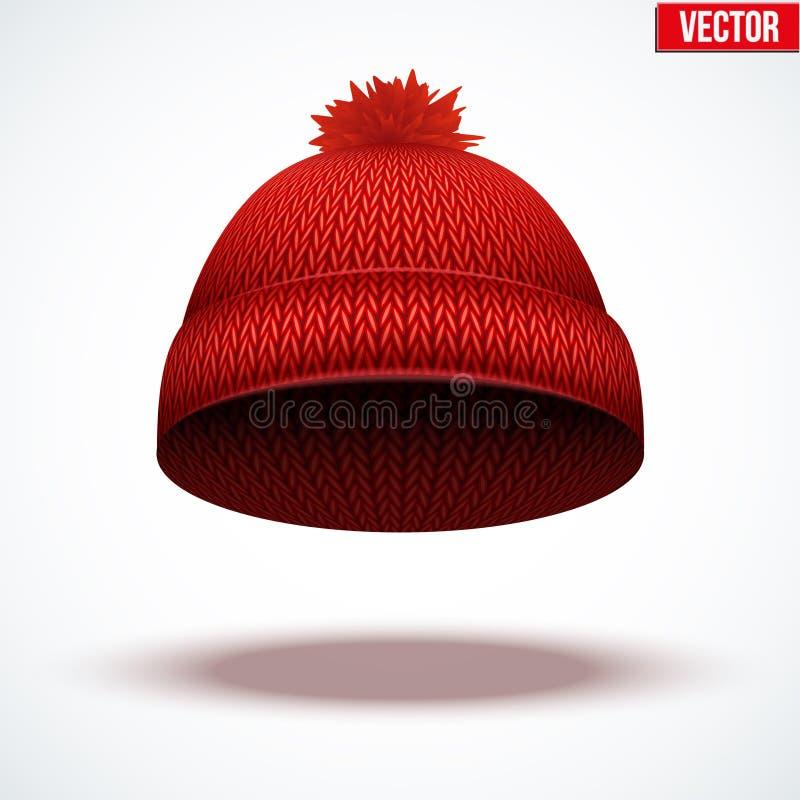 Casquillo de lana hecho punto Sombrero rojo estacional del invierno ilustración del vector