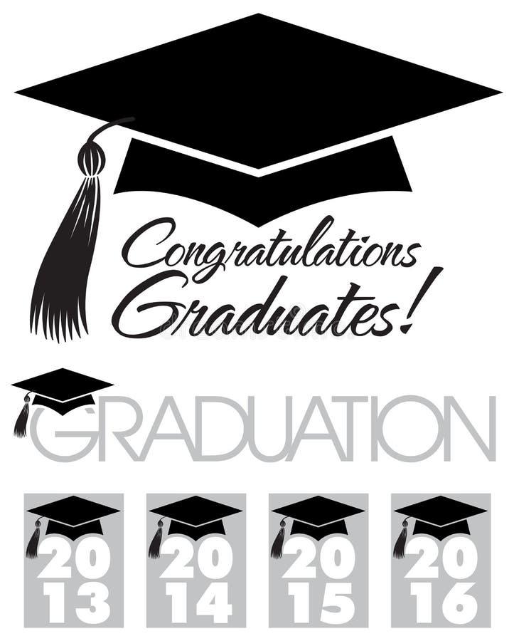 Casquillo de los graduados de la enhorabuena ilustración del vector