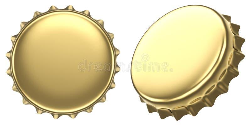 Casquillo de oro de la botella de cerveza del espacio en blanco ilustración del vector