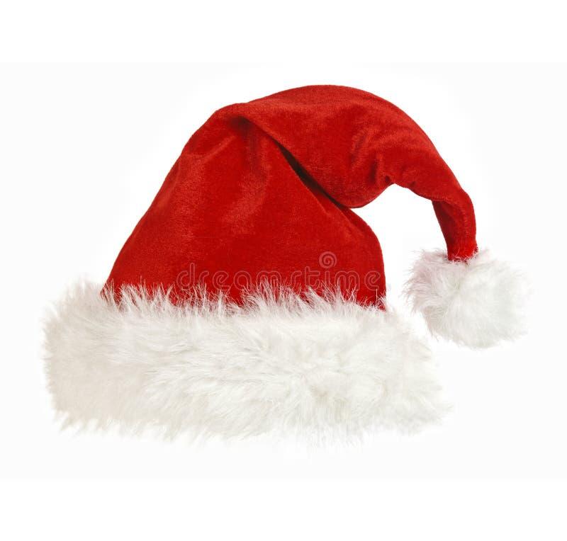 Casquillo de Papá Noel en blanco fotografía de archivo