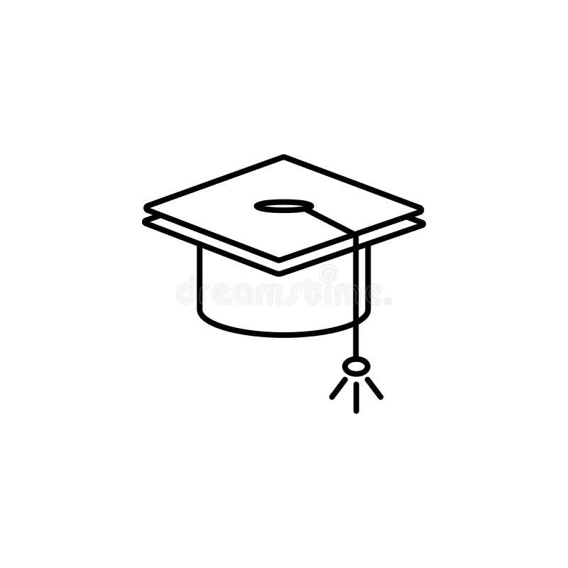 casquillo graduado \ 'de s Elemento del icono de la educación para los apps móviles del concepto y del web La línea fina graduada ilustración del vector