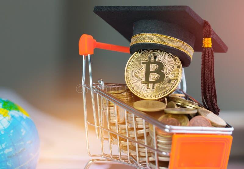 Casquillo internacional de la graduación en Bitcoin Cryptocurrency en el carro de la compra de las monedas Concepto de crisis del fotos de archivo
