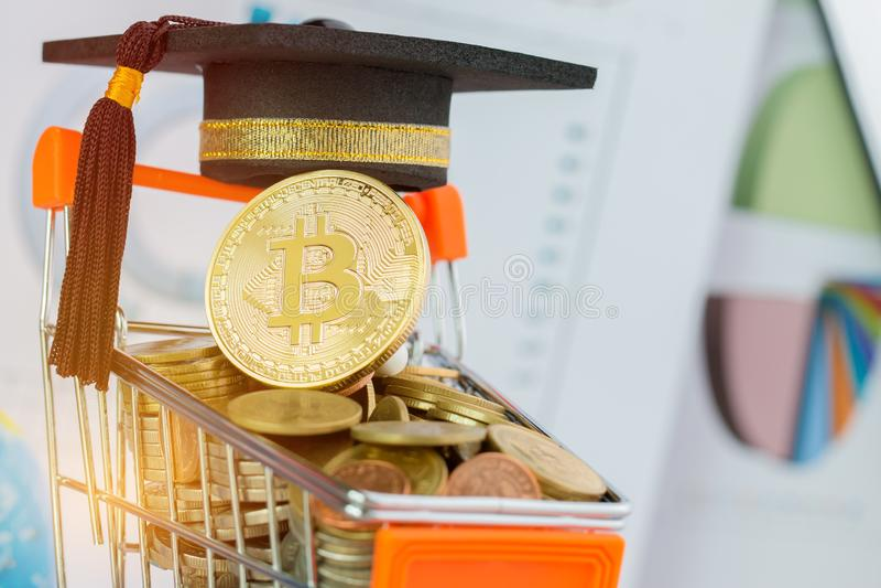 Casquillo internacional de la graduaci?n en Bitcoin Cryptocurrency en el carro de la compra de las monedas Concepto de crisis del imagen de archivo libre de regalías
