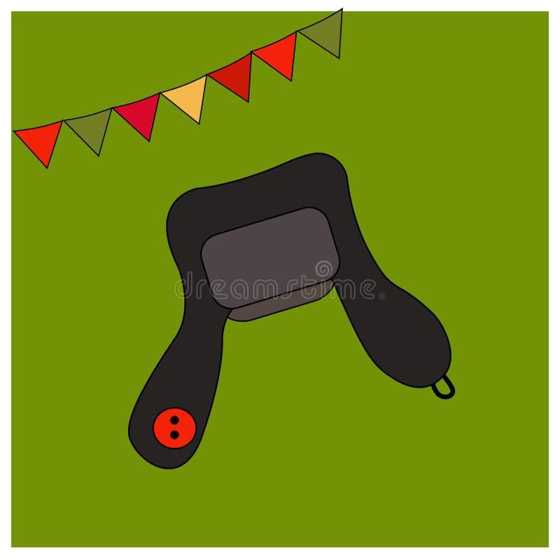 Casquillo negro de la piel del invierno - sombrero con un botón rojo Elementos de la ropa caliente Traje popular de los accesorio libre illustration