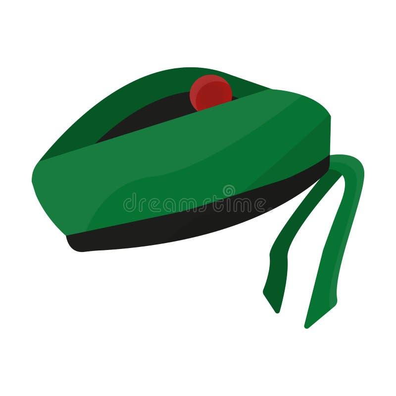 Casquillo o boina tradicional nacional escocesa con el bubón y modelo a cuadros verde en colores rojos Solo icono de Escocia stock de ilustración