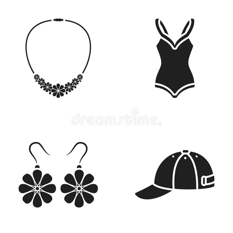 Casquillo, pendientes, collar, traje de baño Los iconos determinados de la colección de la ropa en estilo negro vector el web com libre illustration
