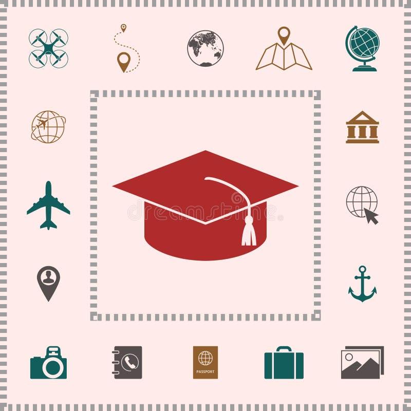 Casquillo principal para los graduados, casquillo académico cuadrado, icono del casquillo de la graduación stock de ilustración