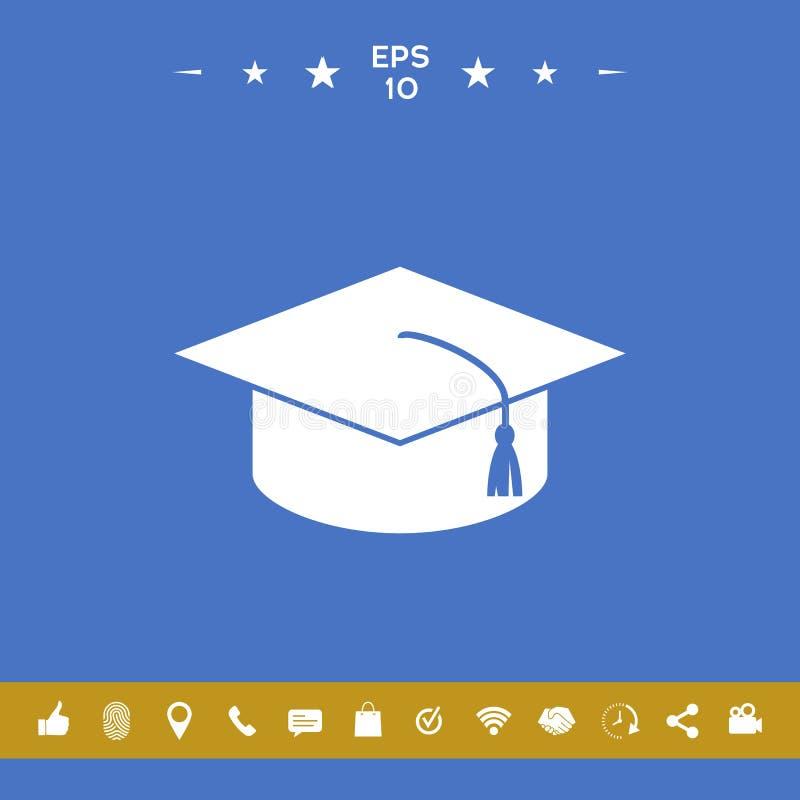 Casquillo principal para los graduados, casquillo académico cuadrado, icono del casquillo de la graduación ilustración del vector