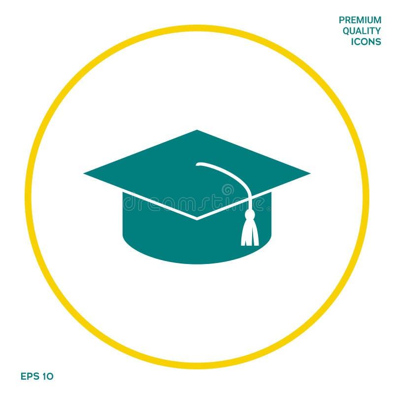 Casquillo principal para los graduados, casquillo académico cuadrado, icono del casquillo de la graduación Elementos gráficos par ilustración del vector