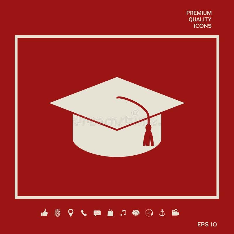 Casquillo principal para los graduados, casquillo académico cuadrado, icono del casquillo de la graduación Elementos gráficos par stock de ilustración