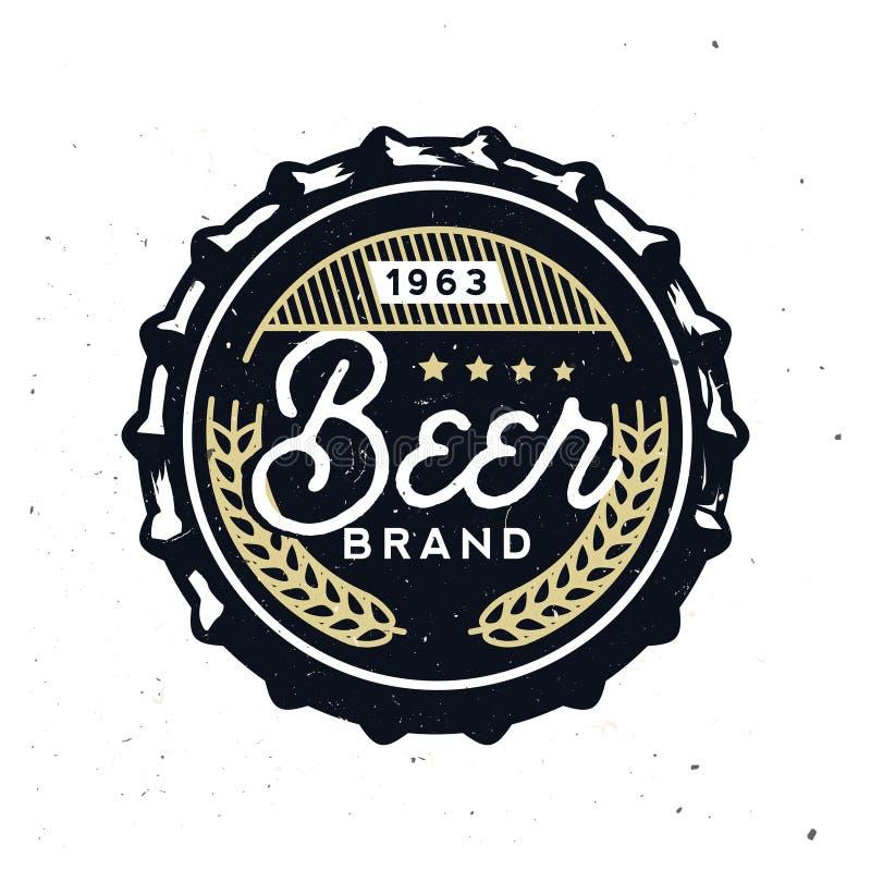 Casquillo retro de la cerveza en estilo del vintage Marcado en caliente de la cerveza ilustración del vector