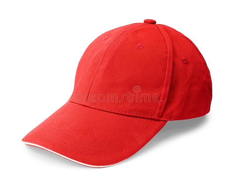 Casquillo rojo aislado en el fondo blanco Plantilla de la gorra de béisbol en vista delantera Trayectoria de recortes fotos de archivo libres de regalías