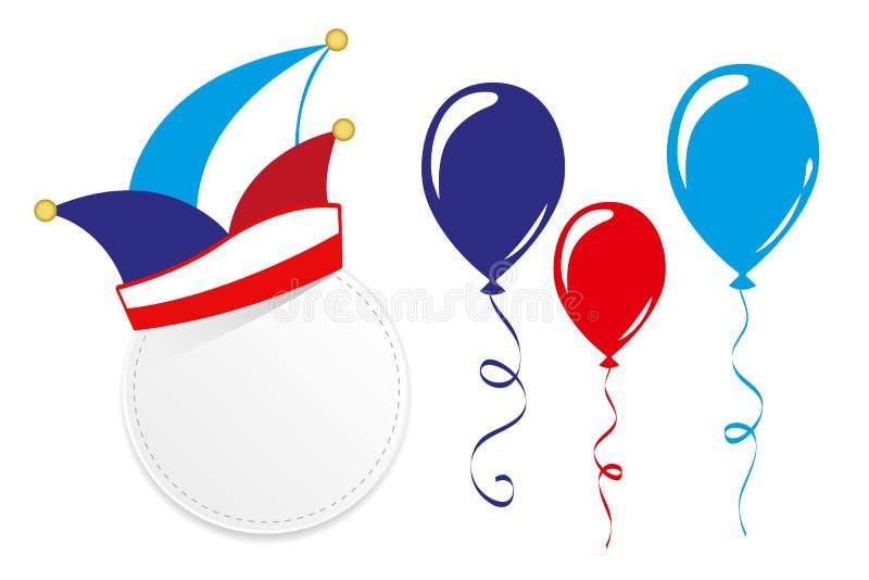 Casquillo tradicional y globos del carnaval aislados en un fondo blanco libre illustration