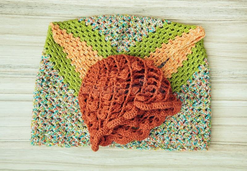 Casquillo y bufanda principales hechos punto, moda del invierno imagen de archivo libre de regalías