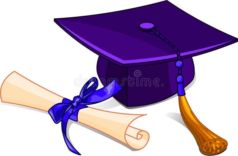 Casquillo y diploma de la graduación ilustración del vector