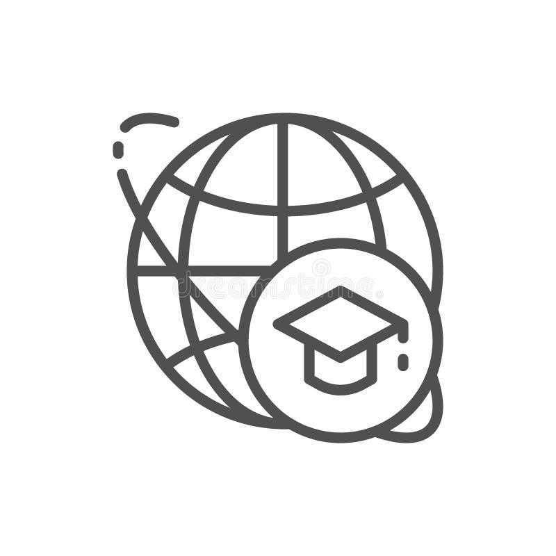 Casquillo y mundo, l?nea global icono de la graduaci?n de la educaci?n stock de ilustración