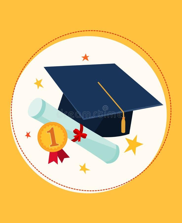 Casquillo y premio de la graduación stock de ilustración