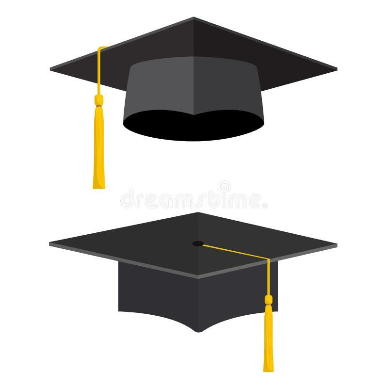 Casquillos académicos de la graduación de la universidad ilustración del vector
