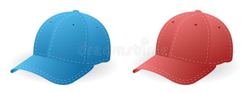 Casquillos azules y rojos ilustración del vector
