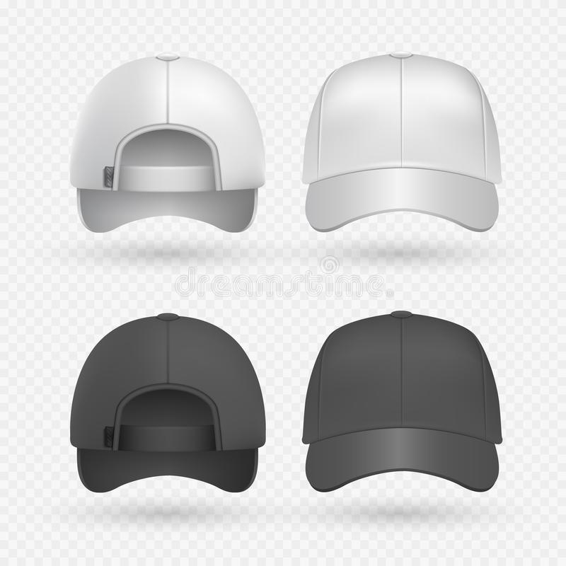 Casquillos blancos y negros realistas del deporte aislados en fondo transparente Plantillas del diseño del vector del sombrero de stock de ilustración