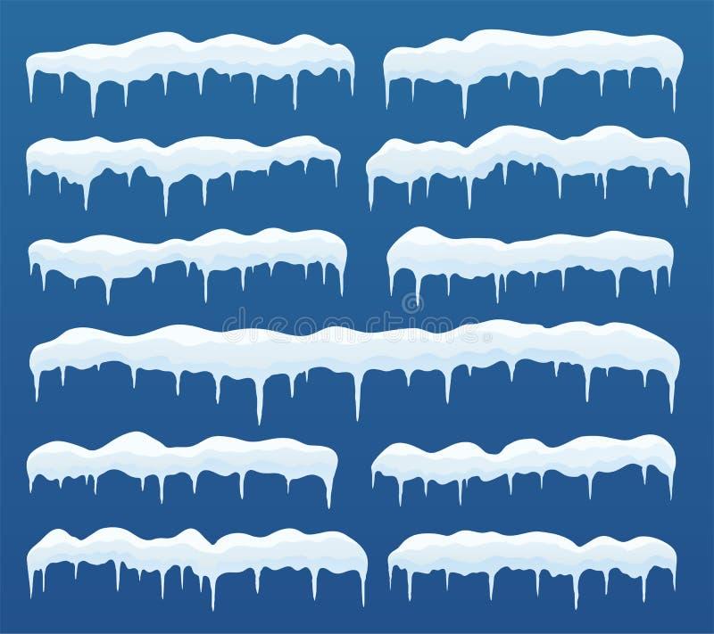Casquillos de la nieve, carámbanos del hielo Decoración del invierno de los elementos, textura congelada del hielo, decoración ne stock de ilustración