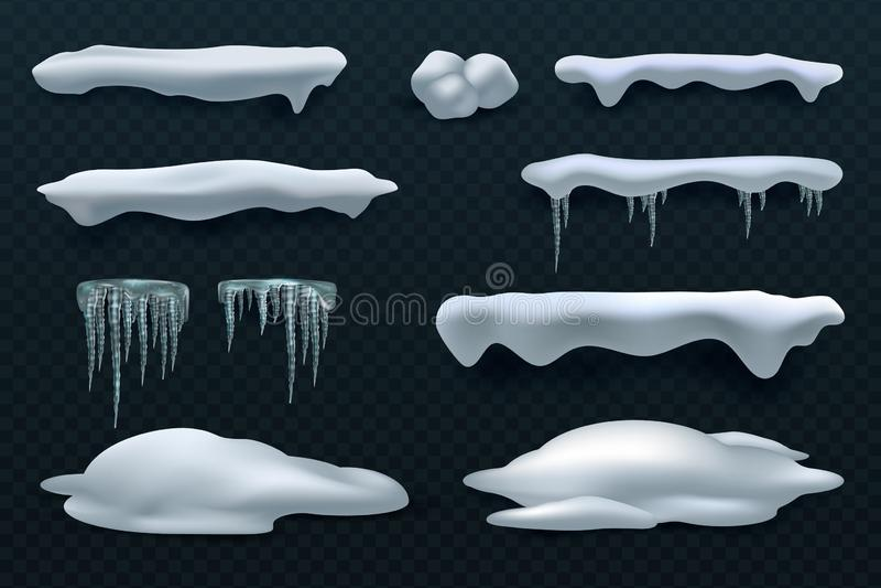 Casquillos y carámbanos de la nieve Decoraciones del invierno del vector de la bola de nieve y de la nieve acumulada por la venti libre illustration