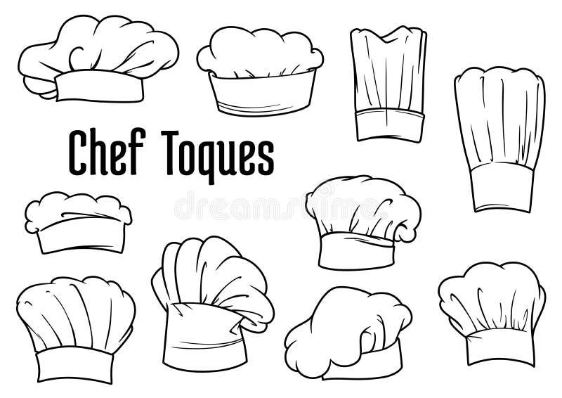 Casquillos y sombreros del cocinero fijados stock de ilustración