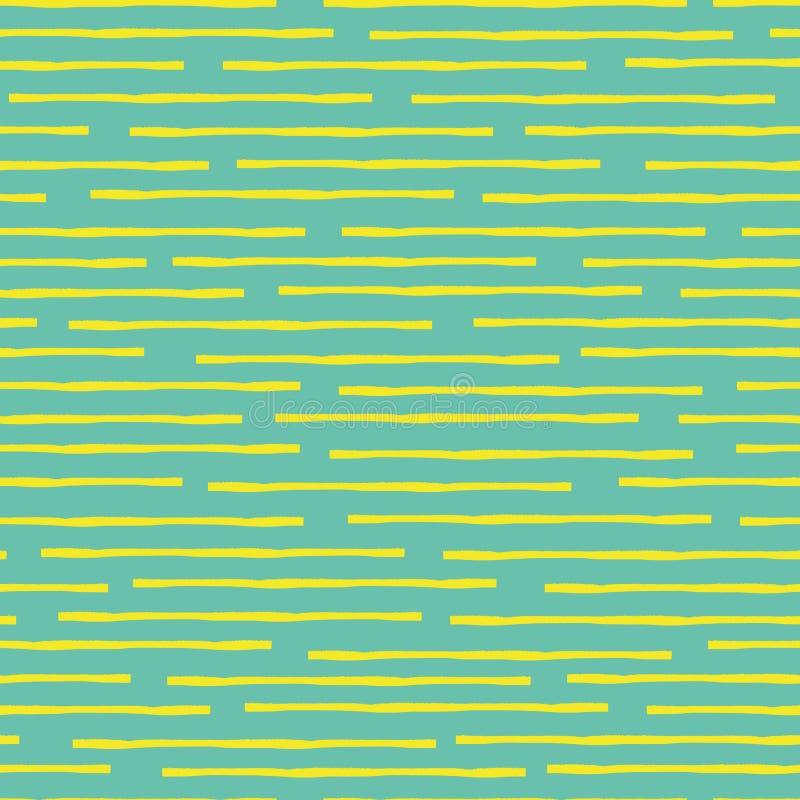 Cassé horizontal vers le haut des rayures jaunes d'aquarelle dans le dessin géométrique aléatoire Modèle sans couture de vecteur  illustration libre de droits