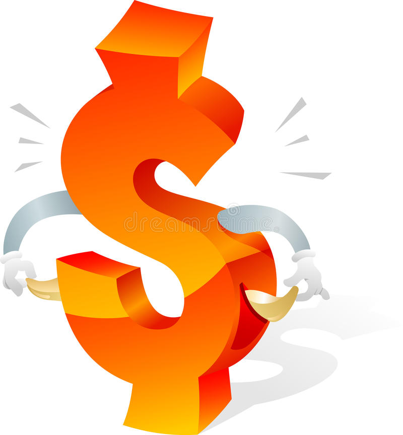 A cassé le symbole de dollar US illustration stock