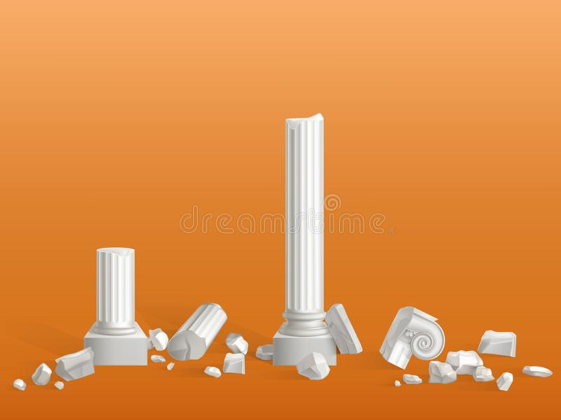 Cassé sur le vecteur antique de colonnes de marbre de morceaux illustration de vecteur