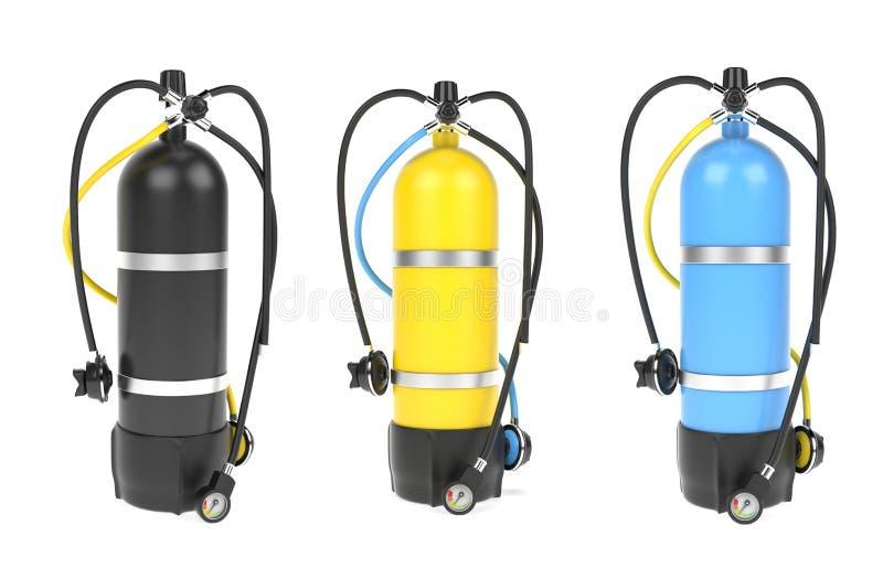 Cassa d'aria di immersione con bombole con l'insieme del regolatore Insieme colorato dei cilindri illustrazione della rappresenta royalty illustrazione gratis