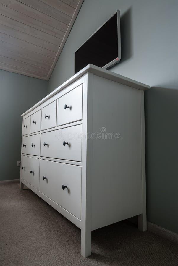 Cassa dei cassetti bianca fotografia stock