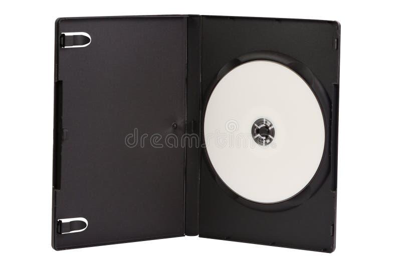 Cassa del CD con il disco in bianco di DVD isolato su bianco immagine stock