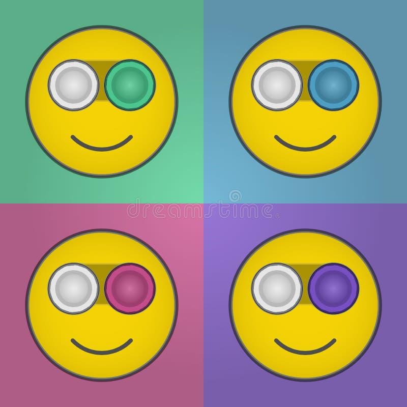 Cassa della lente a contatto di sorriso fotografia stock