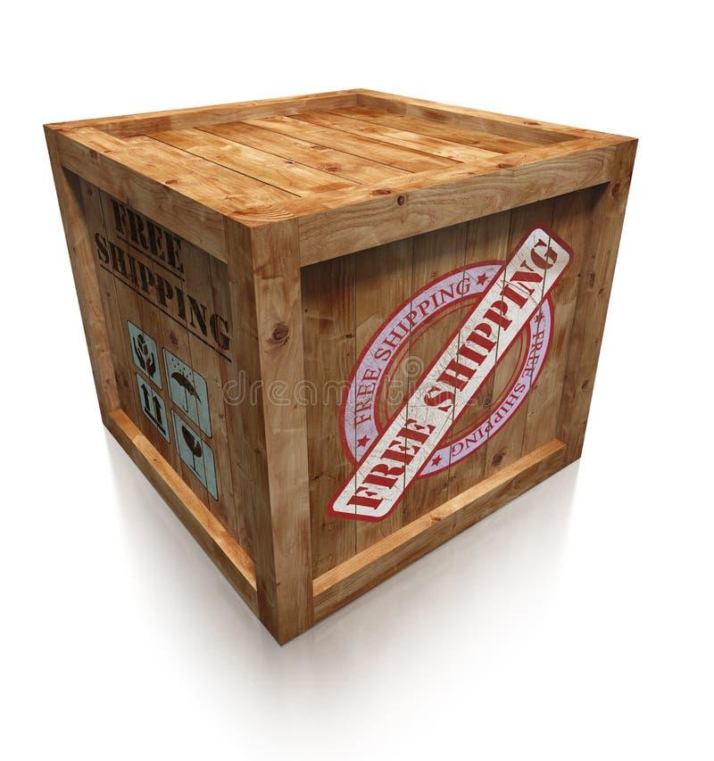 Cassa della scatola di legno con il segno libero di trasporto illustrazione di stock