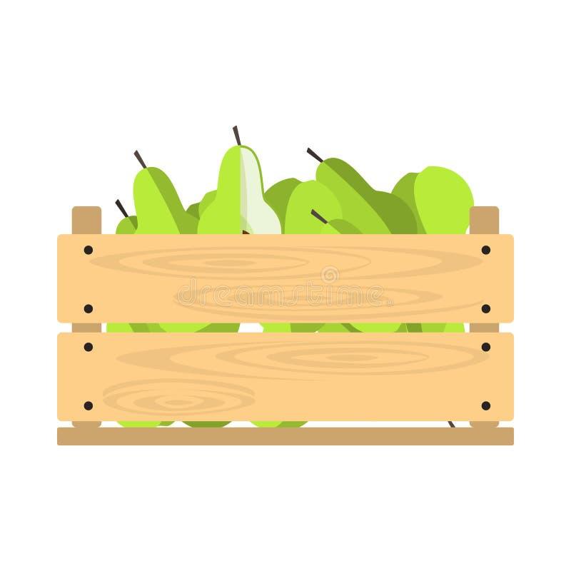 Cassa di legno con le pere illustrazione vettoriale