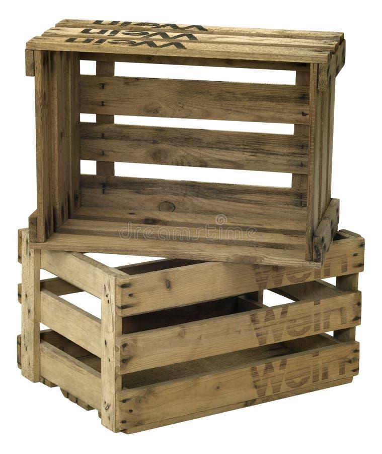 Cassa di legno del vino immagini stock