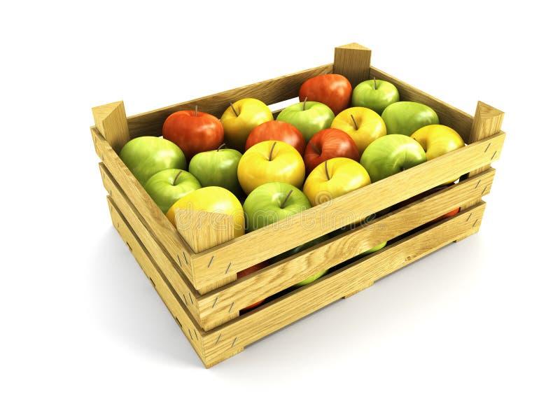 Cassa di legno in pieno delle mele illustrazione vettoriale