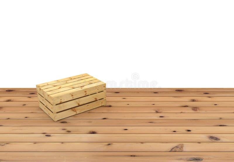 Cassa di legno sottosopra per frutta o la verdura sul pavimento di legno Isolato su priorità bassa bianca illustrazione vettoriale
