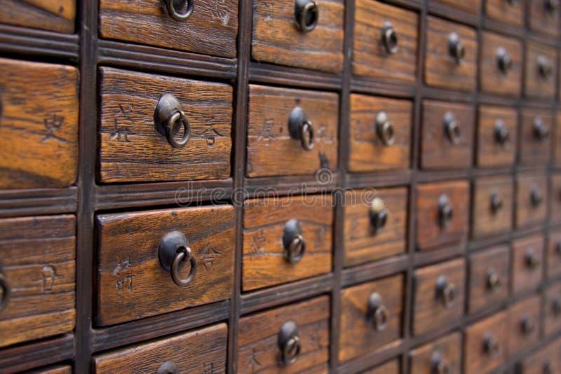 Cassa di medicina cinese antica fotografia stock libera da diritti