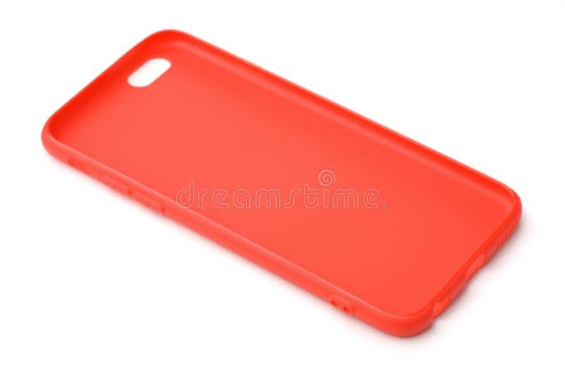 Cassa protettiva rossa vuota del silicone del telefono immagini stock libere da diritti