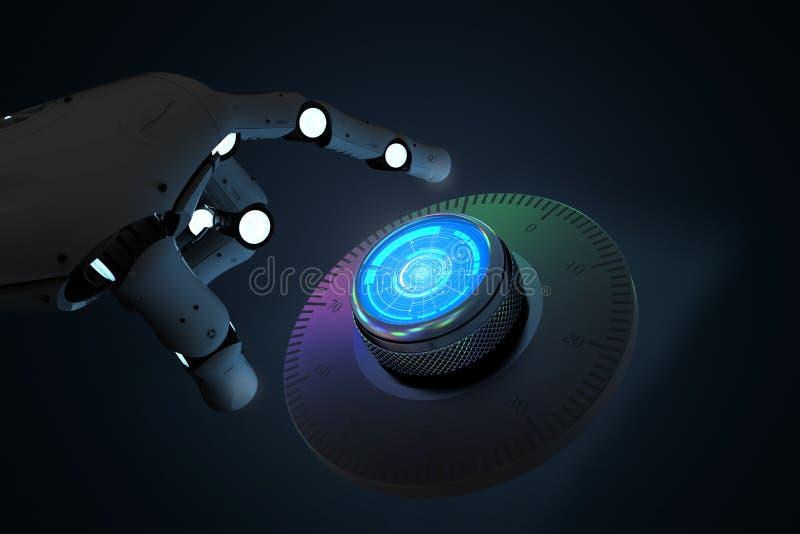 Cassaforte aperta del quadrante del robot illustrazione vettoriale