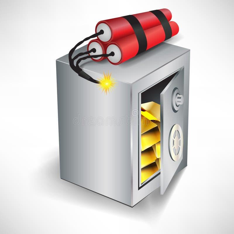 Cassaforte con dinamite; concetto di furto illustrazione vettoriale
