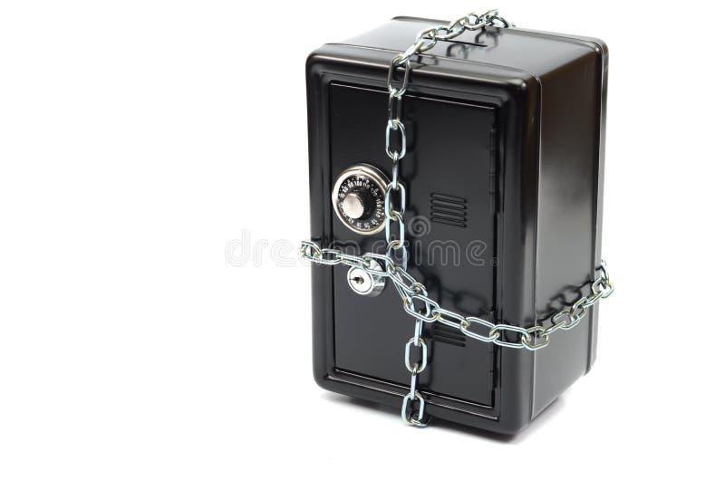 Cassaforte d'acciaio in catene immagini stock libere da diritti