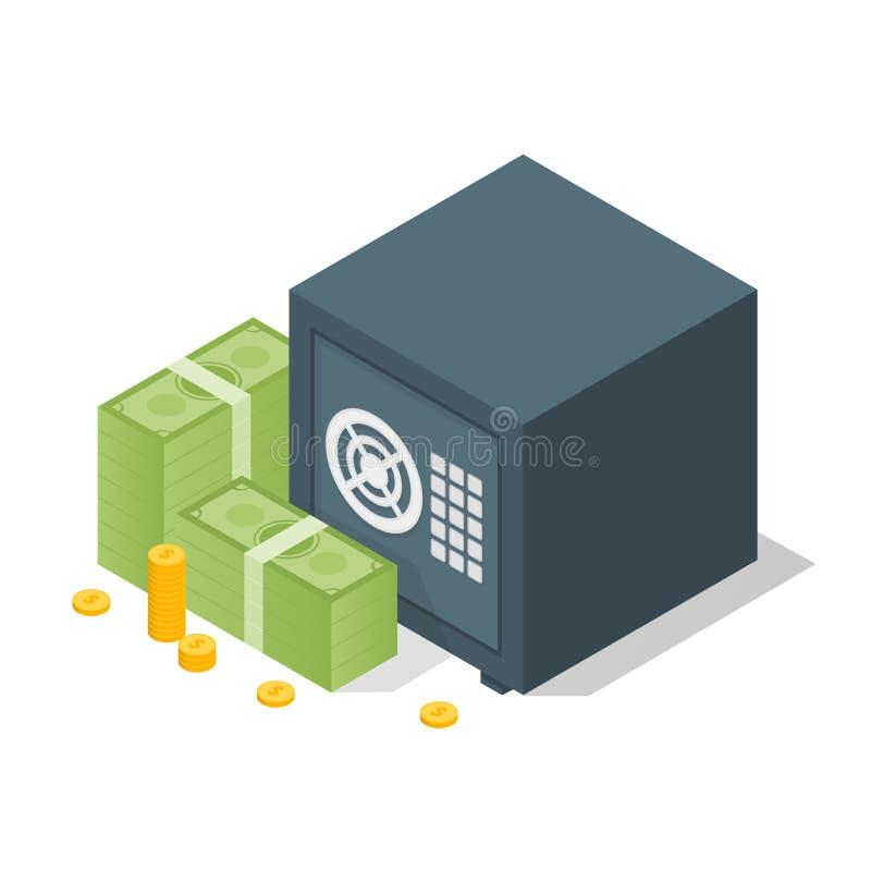 Cassaforte della Banca con le pile del dollaro dei soldi Cassaforte aperta con soldi Illustrazione isometrica di vettore 3d illustrazione vettoriale